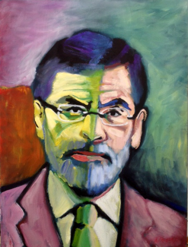 Gerry Adams as &quot;Green Line Politician&quot;<br> after &quot;Mme. Matisse, The Green Line&quot; by Henri Matisse