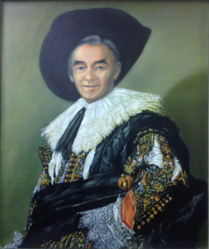 "Padraig Flynn as ""Cavalier Politician"" after ""The Laughing Cavalier"" by Frans Hals"